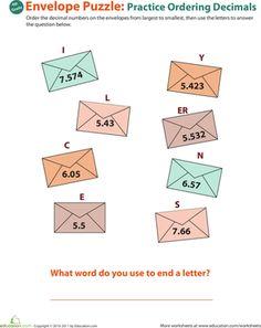 Fourth Grade Decimals Worksheets: Decimal Dash: Practice Ordering Decimals #4