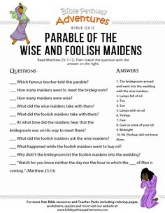Enjoy our free Bible Quiz: Parable of the Wise and Foolish Maidens. Fun for kids to print and test their knowledge of the Bible. Scriptures For Kids, Bible Stories For Kids, Bible Study For Kids, Scripture Study, Kids Bible, Bible Scriptures, Bible Quotes, Bible Object Lessons, Bible Lessons For Kids