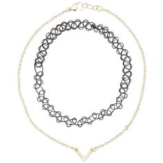 Charlotte Russe Choker Necklaces & Faux Septum Rings - 5 Pack ($6) ❤ liked on Polyvore featuring jewelry, necklaces, gold, yellow gold necklace, tattoo necklace, tattoo choker necklace, gold choker necklace and charm necklace