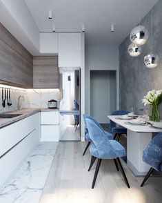 marble blue small kitchen ideas condo russian home interior design style white and wood cabinets glam luxury modern tiny kitchenette Kitchen Soffit, Condo Kitchen, Kitchen Remodel, Kitchen Decor, Kitchen Ideas, Kitchen Walls, Kitchen Cabinets, Kitchen Layout, Kitchen Inspiration
