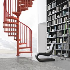 Technopolymer Open staircase / Spiral staircase TECHNE by Albini & Fontanot Stairs Spiral Staircase Dimensions, Spiral Stairs Design, Small Staircase, Staircase Design, Stair Design, Spiral Staircases, Home Library Design, House Design, Stairs To Heaven