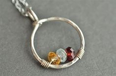 CIRCLE OF LOVE custom genuine mother's birthstone necklace - from muyinjewelry.com