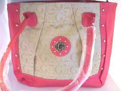 Womans Fuschia Faux Leather Handbag Tote Shoulder Metallic Studs  #GSTYLE #ShoulderBagTote