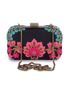 Black Clutch with Floral Embroidery- Buy Bags,Karieshma Sarnaa Clutches Online | Exclusively.in