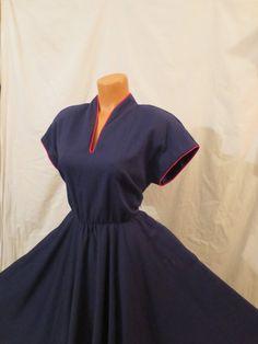 LAND AHOY sailor girl swing dress - full circle skirt - navy blue - rockabilly - sz M L