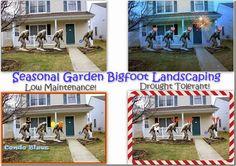 Garden Big Foot, Yeti, Sasquatch Outdoor Decor. #humor #funny #weird #gardening