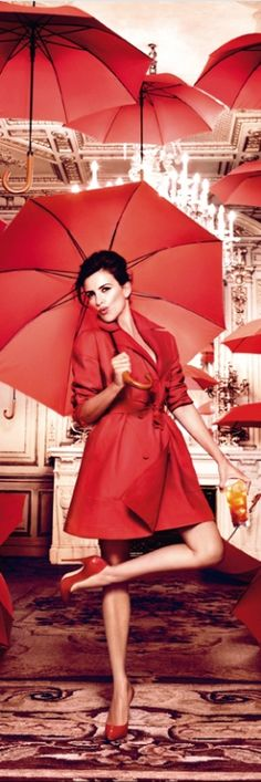 Penelope Cruz dazzels in gorgeous rich red fashions for the latest Campari Calender, photographed by Kristian Schuller Red Umbrella, Under My Umbrella, Clear Umbrella, Fashion Fotografie, Ellen Von Unwerth, Simply Red, Red Fashion, Fashion Beauty, Monica Cruz