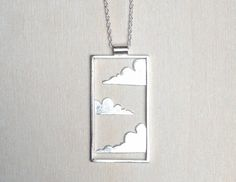 Cloud pendant metalwork pendant unique silver by CopperSpineStudio
