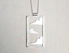 Cloud pendant metalwork pendant unique silver by CopperSpineStudio
