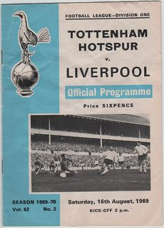 Vintage Football Programme - Tottenham Hotspur v Liverpool, 1969/70 season, by DakotabooVintage, £1.49