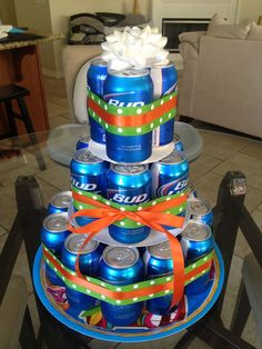 Bud Light Cake Made This As A Gift For Our Friends And It Was Hit Picked Up Platters Ribbon At The Dollar Tree Used 19 Of Th