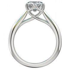 Six Prong Trellis Solitaire Engagement Ring