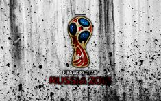 Download wallpapers FIFA World Cup, Russia 2018, Soccer World Cup, grunge, 4k, logo, emblem, Russia