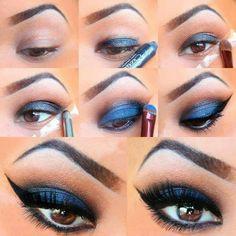 Beauty Palmira: Dramatische Smokey Eyes Tutorial - Make-Up - Eye-Makeup Blue Eye Makeup, Makeup For Brown Eyes, Smokey Eye Makeup, Love Makeup, Simple Makeup, Easy Makeup, Glitter Makeup, Makeup Eyeshadow, Natural Makeup