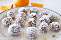 These Coconut Orange Date Balls are a delicious healthy vegan snack recipe - they are gluten free and easy to make with all real ingredients. Plus this is a no-bake recipe! Every since I started … Raw Food Recipes, Snack Recipes, Cooking Recipes, Diet Recipes, Healthy Recipes, Dessert Recipes, Healthy Vegan Snacks, Healthy Liver, Truffles