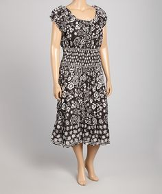 Look what I found on #zulily! Black Floral Cap-Sleeve Dress - Plus #zulilyfinds