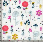 Dashwood Studio Cotton Candy: Flowers on White (per 1/4 metre)
