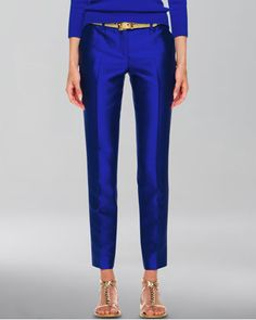 Samantha Slim Shantung Pants by Michael Kors at Neiman Marcus.  Love the color!!!!!!!!