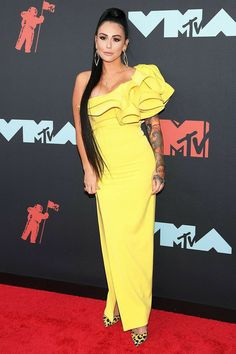 JWoww - 2019 MTV Video Music Awards: See all the photos from the red carpet Nicole Snooki, Zara Larsson, Mtv Video Music Award, Music Awards, One Shoulder Gown, Mtv Videos, Red Carpet Dresses, Sheer Dress, Celebrity Dresses
