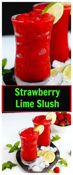Strawberry Lime Slush – Fruit slushies are the perfect summer drink. Made with r… Strawberry Lime Slush – Fruit slushies are the perfect summer drink. Made with real fruit these are easy to make at home and you'll be sipping this icee drink in minutes. Fruity Drinks, Frozen Drinks, Smoothie Drinks, Non Alcoholic Drinks, Fun Drinks, Healthy Drinks, Beverages, Drinks Alcohol, Mocktail Drinks