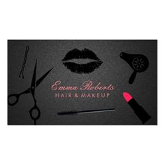 Makeup Artist Hair Stylist Trendy Carbon Black Business Card