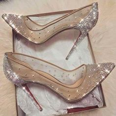 cinderella stiletto heels / glitter pumps / women's shoes from Louboutin Cute Shoes, Me Too Shoes, Prom Heels, Sparkly Heels, Silver High Heels, Silver Wedding Shoes, Bling Heels, Sexy Heels, Black Pumps