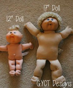 "12"" and 17"" cabbage patch with free clothing pattern"