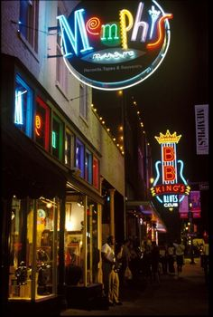 Beale Street, Memphis, Tennessee  I lived there for years & LOVE going back there!! Best BBQ in the WORLD!!!!