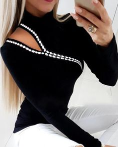 Women Pullover Tops Tee Long Sleeve Sweater Knitted Cold Shoulder Jumper, S Trend Fashion, Style Fashion, Fashion Women, Fashion Online, Fashion Design, Basic Tops, Blouse Online, Mode Outfits, Casual T Shirts