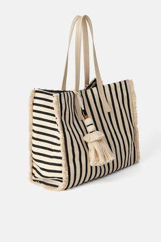 ZARA - Female - Frayed shopper bag - Multicolor - M Ethno Style, Striped Bags, Linen Bag, Fabric Bags, Shopper Bag, Cotton Bag, Cloth Bags, Handmade Bags, Straw Tote