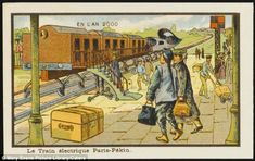 All abroad for the year 2,000: Dreaming of an age of exploration, the artists penned scenes of people living in a submarine and travelling from Paris to Peking by train (pictured). The engine has a nose that resembles a fighter jet