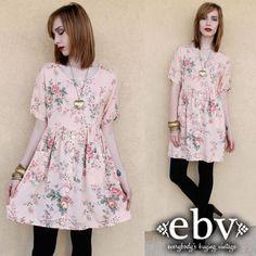 Vintage 90s Pink Floral Babydoll Dress S M L 90s Grunge Dress