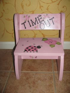 Reversible Time out chair and stepping stool all in one! Hand made and hand painted designer toddler chair. This time out chair/stepstool could be 2nd Hand Furniture, Ashley Furniture Chairs, Hand Painted Furniture, Amish Furniture, Refurbished Furniture, Paint Furniture, Kids Furniture, Outdoor Tables And Chairs, Shabby Chic Table And Chairs