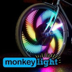 A fun and highly visible addition to traditional bike lights, the MonkeyLectric Monkey Light bike wheel light brightens up your spinning wheels with fun patterns of complex digital light. Bicycle Spokes, Bicycle Wheel, Cruiser Bicycle, Bicycle Art, High Power Led, Radios, Bicycle Lights, Bike Light, Digital Light