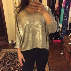 HP Glamour Girl Stunning metallic gold dolman top! Worn once!  Perfect condition.  Beautiful top!  Gold and black metallic.  Fits loosely but flattering.  Glamour Girl Host Pick 11/18/15 Monteau Tops Blouses