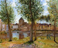 Impressionismo. Álamos una Moret-sur-Loing, una tarde de agosto por Alfred Sisley Tamaño: 60x73 cm  Medio: óleo sobre lienzo