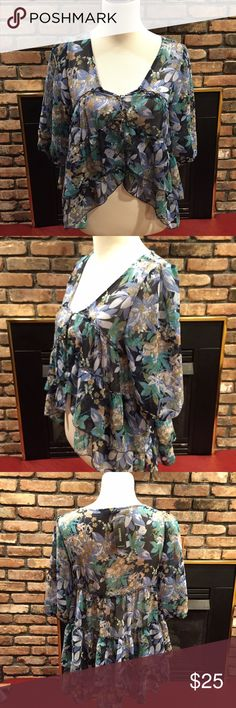 """NWT Express Boho sheer floral partially crop top! NWT Boho Express layers of floral sheer material. One front button holding the shirt closed. The shortest point of front of top is 18"""" from shoulders then gradually goes to 22"""". The back is 26"""" long. Throw a nude bralette on and you are good to go!! Express Tops Crop Tops"""