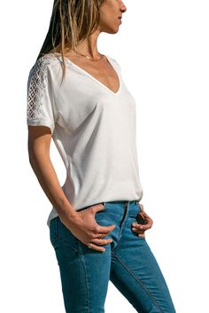 Cheap White V Neck Lace Splicing Short Sleeve Shirt only US  6.44 0f38f7283