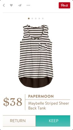 Stitch fix paper moon may belle striped sheer back tank Moon Clothing, Stitch Fix Outfits, Classic Outfits, Get The Look, Virtual Closet, Clothing Patterns, Spring Summer Fashion, Paper Moon, Stylists