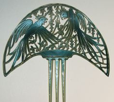 Three art deco parrot combs, celluloid, c. 1920, a private collection.