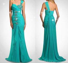 turquoise blue long evening dress