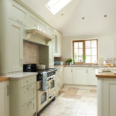 Sage green and cream kitchen | Kitchen decorating ideas | Beautiful Kitchens | Housetohome.co.uk