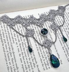 viComes in 4 dazzling colors to choose your favorite!!! #swarovski #filigree #choker #necklace