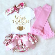 Baby Girl Clothes, Baby Girl Outfit, Football Onesie, TuTus and Touchdowns, baby girl onesie Superbowl Onesie Baby Bloomers Football toddler