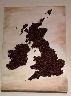 Show your patriotism by displaying this lovely map of the Great Britain and Ireland in your living room!  It is made out of coffee beans glued to a