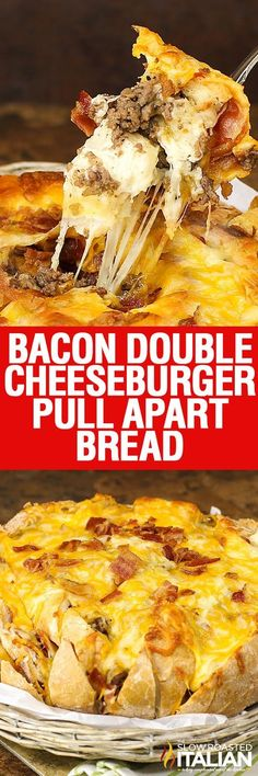 Bacon Double Cheeseburger Pull Apart Bread all begins with a loaf of sour dough bread loaded with perfectly seasoned beef.  It is bursting with bacon and ooey gooey cheese. A simple recipe that you are sure to make again and again.