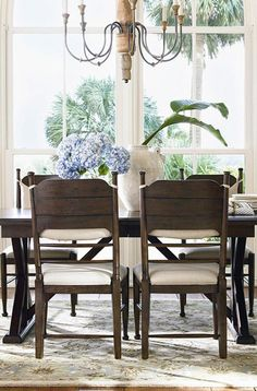 Love to have all my furniture this color Darienne Dining Table in Distressed Molasses