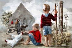 The Men in a Donkey cart on the Farm