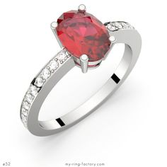 Bague rubis ovale pavage diamants PERSEE or blanc - My-ring-factory