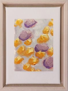 """Pale orange and lavender create an ethereal feel in """"Little Marigolds"""". This is a 3""""x5"""" painting on paper, mounted on an 5""""x7"""" stretched canvas and framed in a maple floater frame. Your Paintings, Original Paintings, Cool Color Palette, Colorful Abstract Art, Pale Orange, Art Series, Stretched Canvas, Watercolor Paper, Custom Framing"""